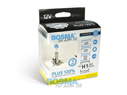 H1 55W 12V P14,5s +120% DOUBLE PACK